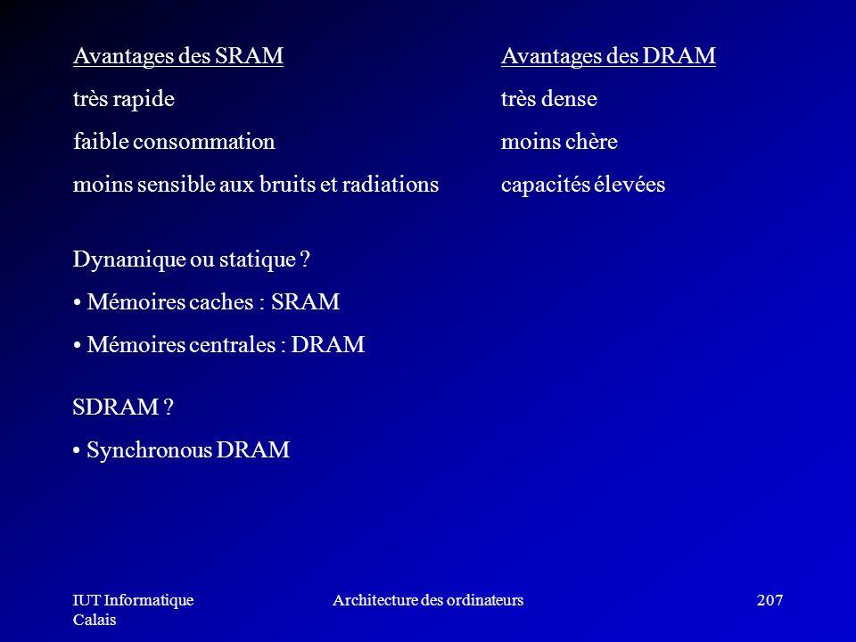 IUT Informatique Calais Architecture des ordinateurs207 Avantages des SRAMAvantages des DRAM très rapide très dense faible consommationmoins chère moi