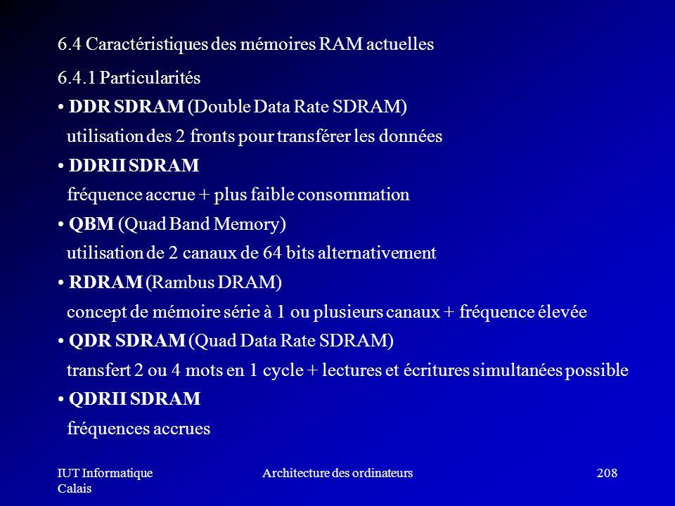 IUT Informatique Calais Architecture des ordinateurs208 6.4 Caractéristiques des mémoires RAM actuelles 6.4.1 Particularités DDR SDRAM (Double Data Ra