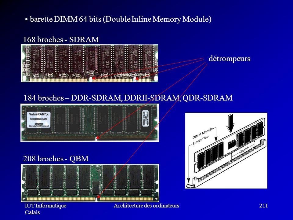 IUT Informatique Calais Architecture des ordinateurs211 barette DIMM 64 bits (Double Inline Memory Module) 168 broches - SDRAM 184 broches – DDR-SDRAM