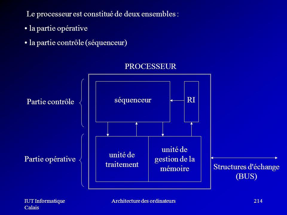 IUT Informatique Calais Architecture des ordinateurs214 Le processeur est constitué de deux ensembles : la partie opérative la partie contrôle (séquen