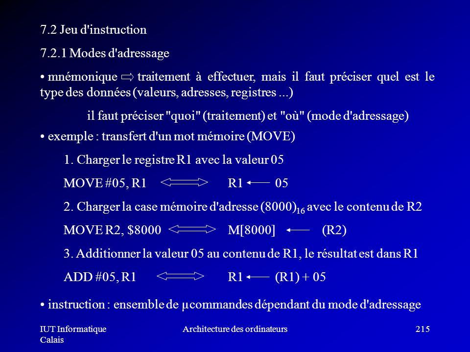 IUT Informatique Calais Architecture des ordinateurs215 7.2 Jeu d'instruction 7.2.1 Modes d'adressage mnémonique traitement à effectuer, mais il faut