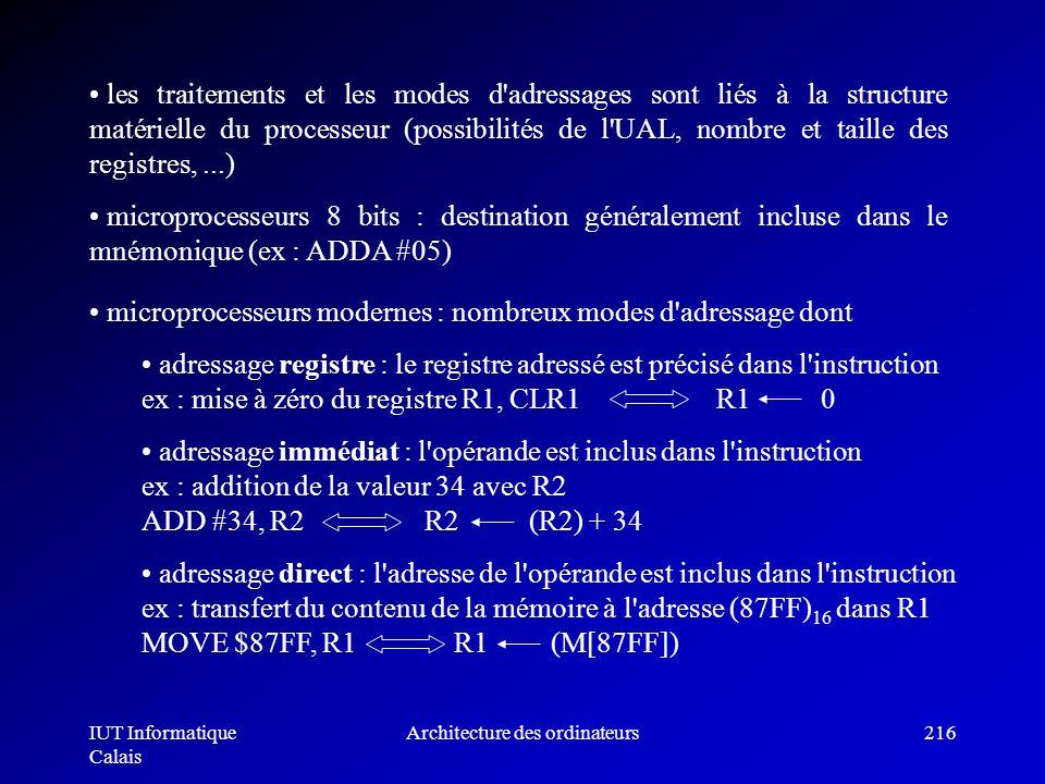 IUT Informatique Calais Architecture des ordinateurs216 les traitements et les modes d'adressages sont liés à la structure matérielle du processeur (p