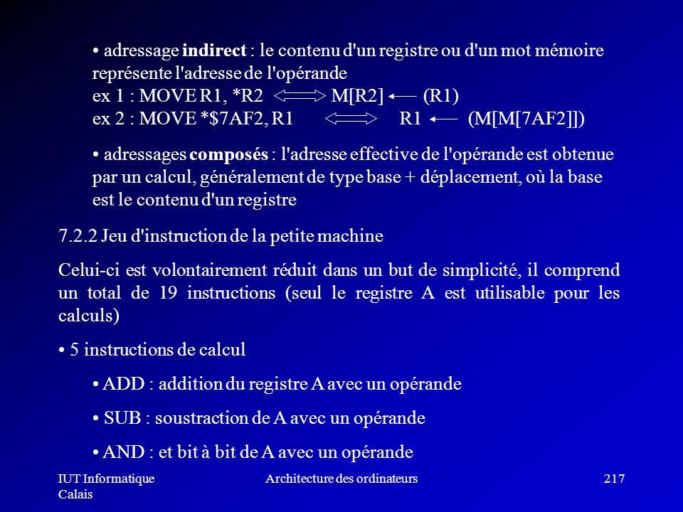 IUT Informatique Calais Architecture des ordinateurs217 adressages composés : l'adresse effective de l'opérande est obtenue par un calcul, généralemen