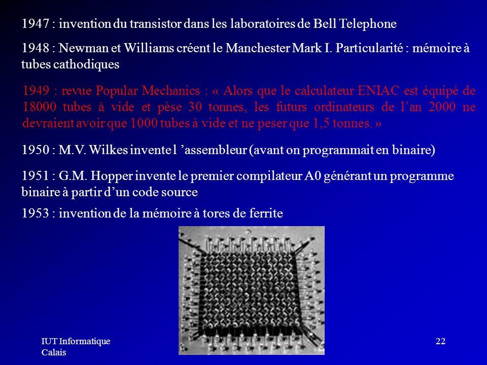 IUT Informatique Calais Architecture des ordinateurs22 1948 : Newman et Williams créent le Manchester Mark I. Particularité : mémoire à tubes cathodiq