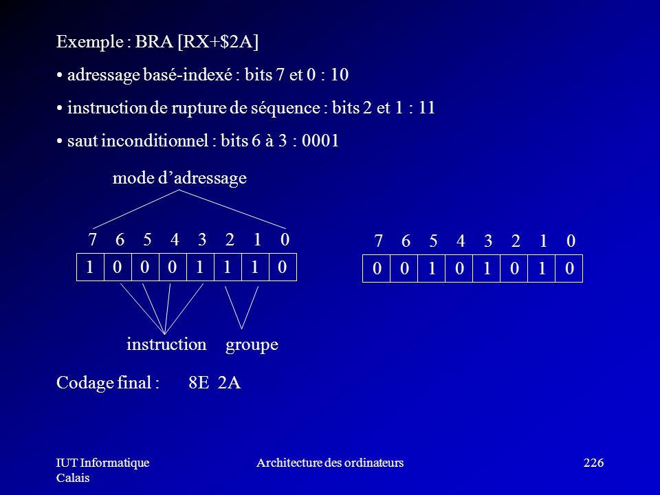 IUT Informatique Calais Architecture des ordinateurs226 Exemple : BRA [RX+$2A] adressage basé-indexé : bits 7 et 0 : 10 instruction de rupture de séqu