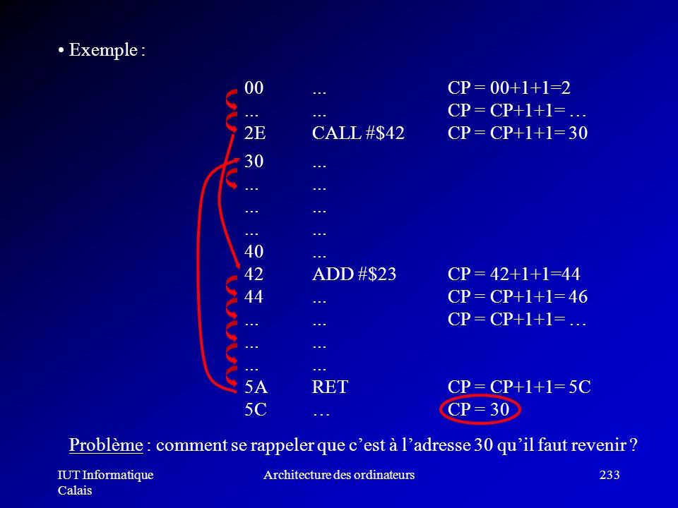 IUT Informatique Calais Architecture des ordinateurs233 00......... 2ECALL #$42 Exemple : 30..................... 40... 42ADD #$23 44.................