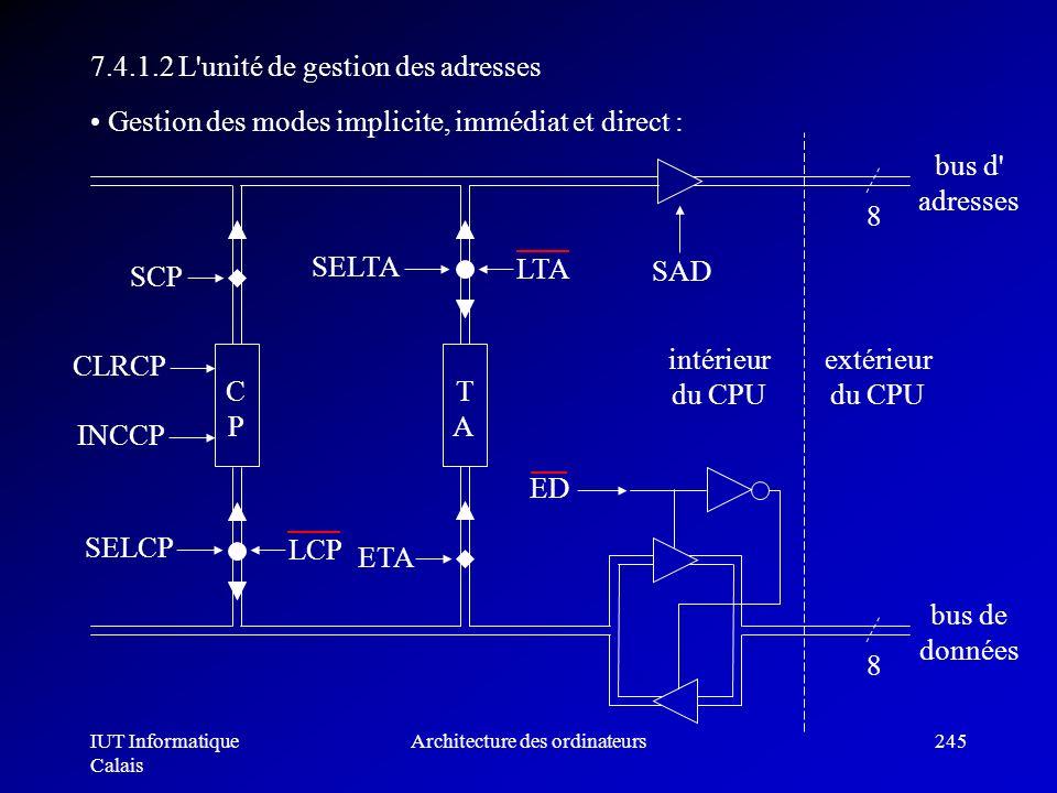 IUT Informatique Calais Architecture des ordinateurs245 7.4.1.2 L'unité de gestion des adresses TATA ETA 8 bus de données Gestion des modes implicite,