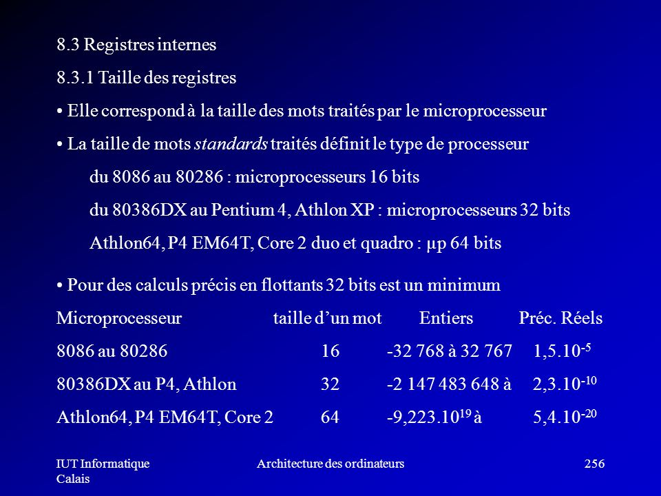 IUT Informatique Calais Architecture des ordinateurs256 8.3 Registres internes 8.3.1 Taille des registres Elle correspond à la taille des mots traités