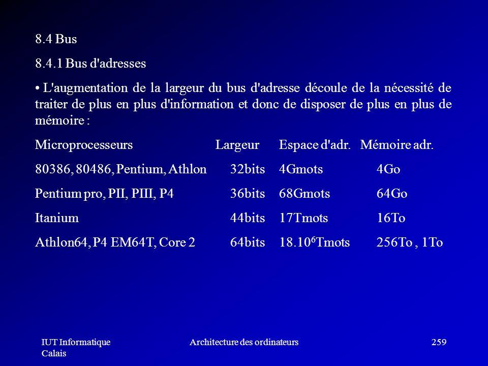 IUT Informatique Calais Architecture des ordinateurs259 8.4 Bus 8.4.1 Bus d'adresses L'augmentation de la largeur du bus d'adresse découle de la néces