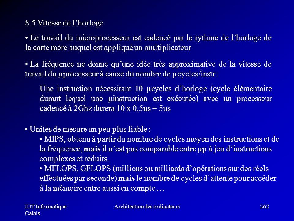 IUT Informatique Calais Architecture des ordinateurs262 8.5 Vitesse de lhorloge Le travail du microprocesseur est cadencé par le rythme de lhorloge de