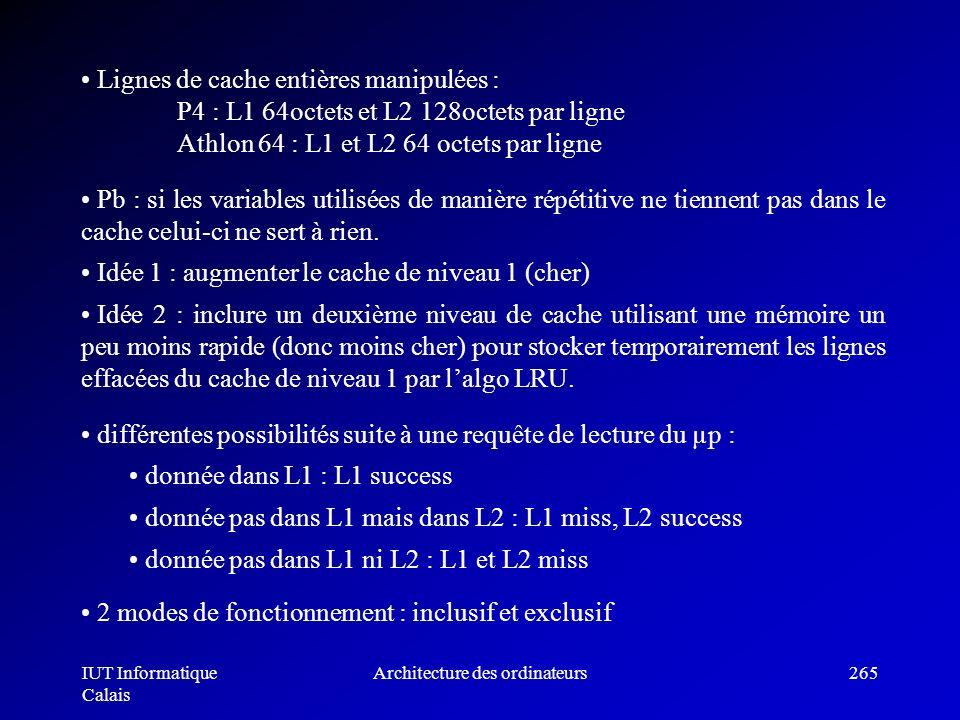 IUT Informatique Calais Architecture des ordinateurs265 Pb : si les variables utilisées de manière répétitive ne tiennent pas dans le cache celui-ci n