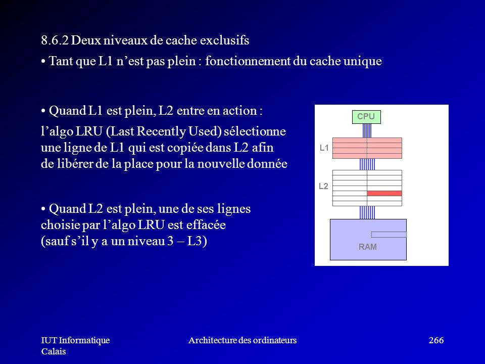 IUT Informatique Calais Architecture des ordinateurs266 8.6.2 Deux niveaux de cache exclusifs Tant que L1 nest pas plein : fonctionnement du cache uni