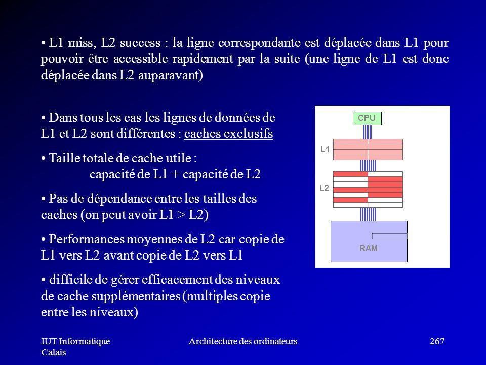 IUT Informatique Calais Architecture des ordinateurs267 L1 miss, L2 success : la ligne correspondante est déplacée dans L1 pour pouvoir être accessibl