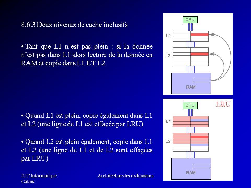IUT Informatique Calais Architecture des ordinateurs268 8.6.3 Deux niveaux de cache inclusifs Tant que L1 nest pas plein : si la donnée nest pas dans
