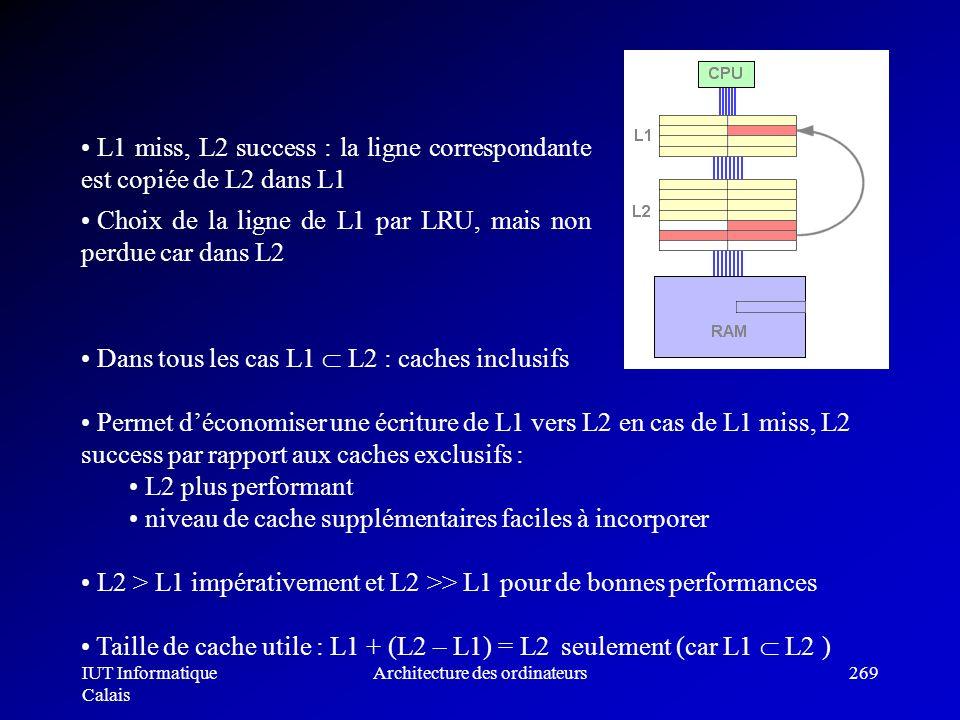 IUT Informatique Calais Architecture des ordinateurs269 Dans tous les cas L1 L2 : caches inclusifs Permet déconomiser une écriture de L1 vers L2 en ca