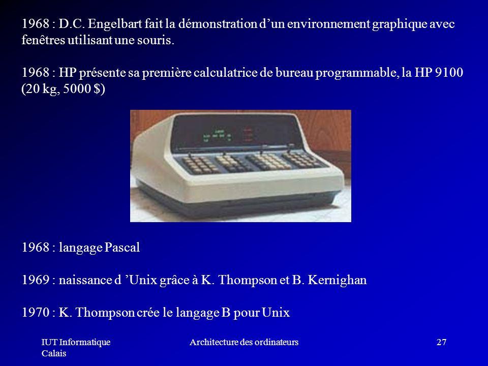 IUT Informatique Calais Architecture des ordinateurs27 1968 : D.C. Engelbart fait la démonstration dun environnement graphique avec fenêtres utilisant