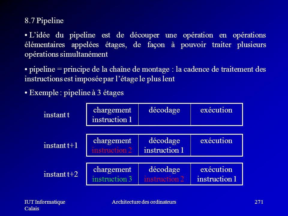 IUT Informatique Calais Architecture des ordinateurs271 8.7 Pipeline Lidée du pipeline est de découper une opération en opérations élémentaires appelé