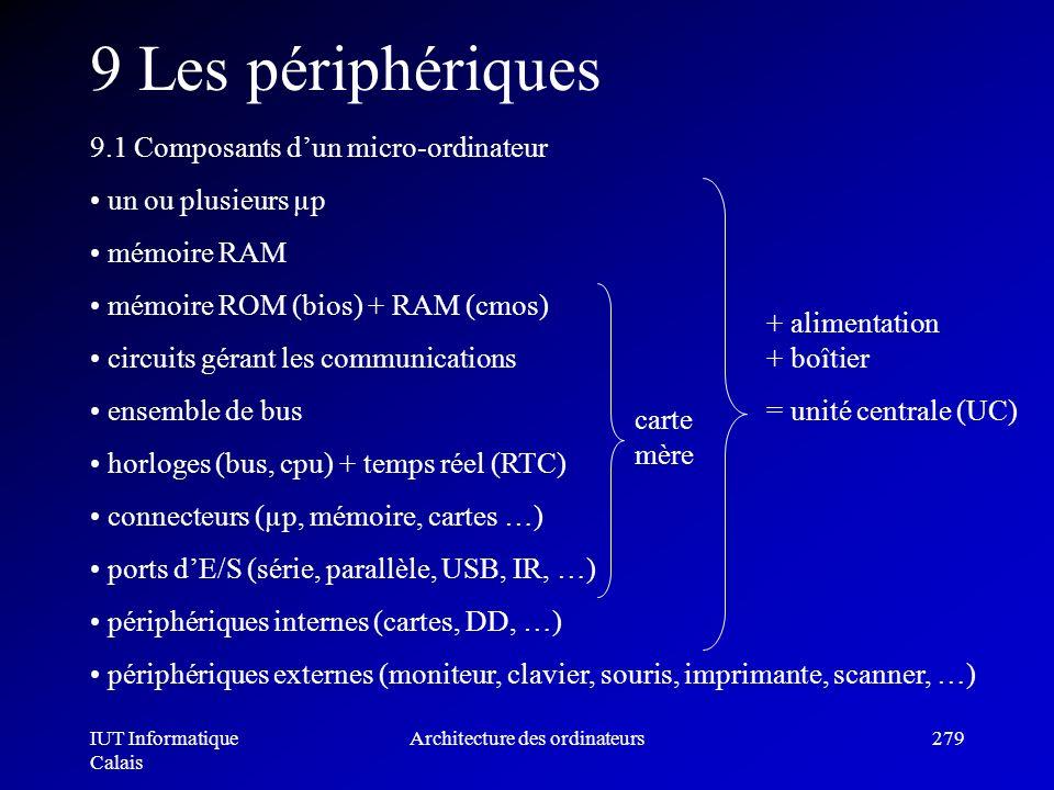 IUT Informatique Calais Architecture des ordinateurs279 9 Les périphériques 9.1 Composants dun micro-ordinateur un ou plusieurs µp mémoire RAM mémoire