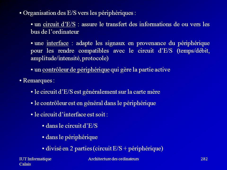IUT Informatique Calais Architecture des ordinateurs282 Organisation des E/S vers les périphériques : un circuit dE/S : assure le transfert des inform