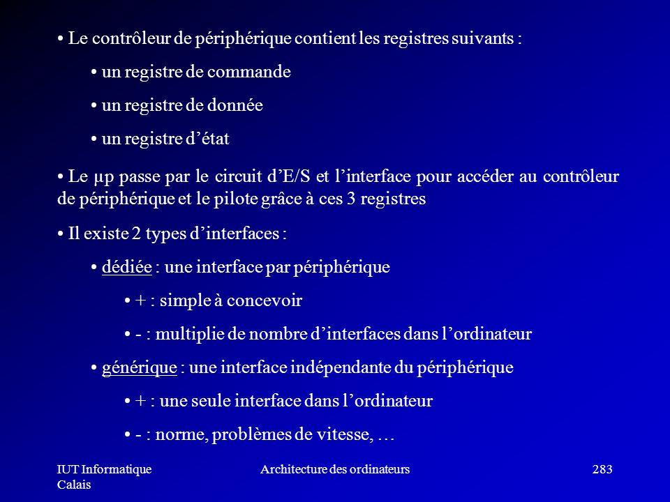 IUT Informatique Calais Architecture des ordinateurs283 Le contrôleur de périphérique contient les registres suivants : un registre de commande un reg