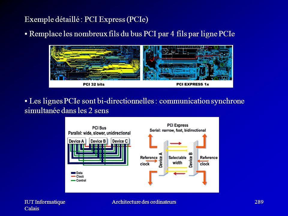 IUT Informatique Calais Architecture des ordinateurs289 Exemple détaillé : PCI Express (PCIe) Remplace les nombreux fils du bus PCI par 4 fils par lig