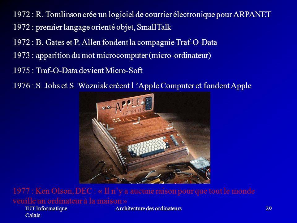 IUT Informatique Calais Architecture des ordinateurs29 1972 : R. Tomlinson crée un logiciel de courrier électronique pour ARPANET 1972 : premier langa