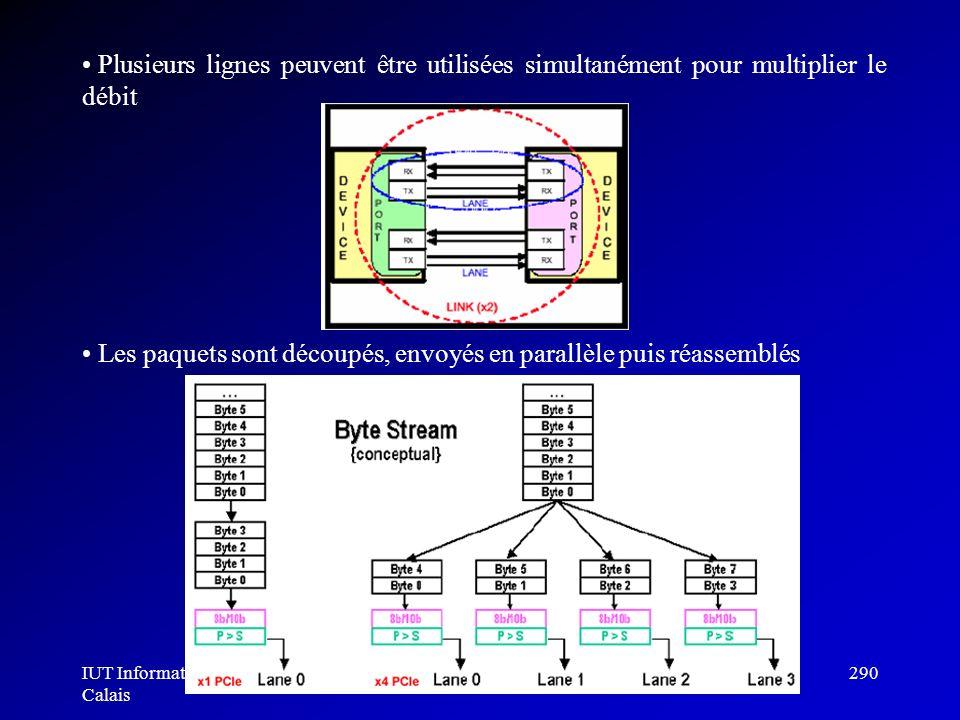 IUT Informatique Calais Architecture des ordinateurs290 Plusieurs lignes peuvent être utilisées simultanément pour multiplier le débit Les paquets son