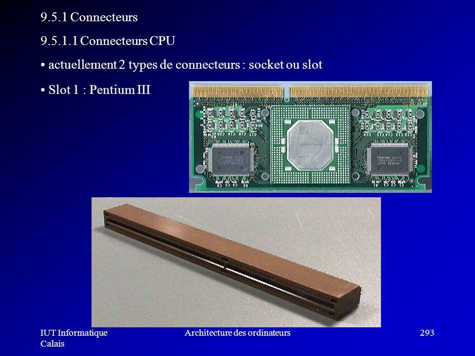 IUT Informatique Calais Architecture des ordinateurs293 9.5.1 Connecteurs 9.5.1.1 Connecteurs CPU actuellement 2 types de connecteurs : socket ou slot