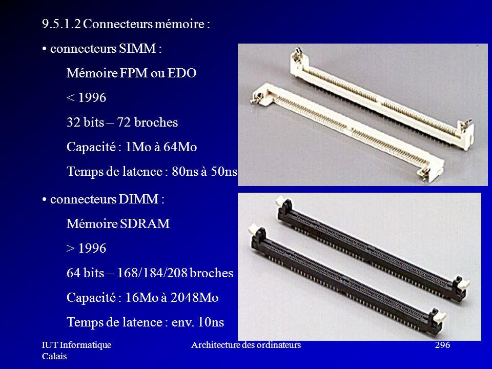 IUT Informatique Calais Architecture des ordinateurs296 9.5.1.2 Connecteurs mémoire : connecteurs SIMM : Mémoire FPM ou EDO < 1996 32 bits – 72 broche