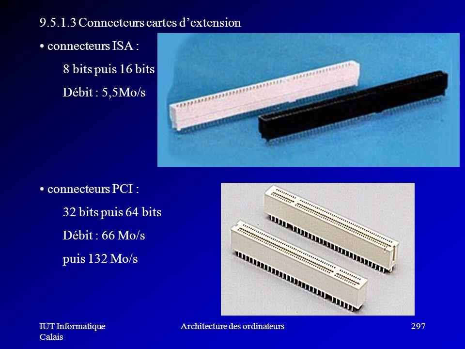 IUT Informatique Calais Architecture des ordinateurs297 9.5.1.3 Connecteurs cartes dextension connecteurs ISA : 8 bits puis 16 bits Débit : 5,5Mo/s co