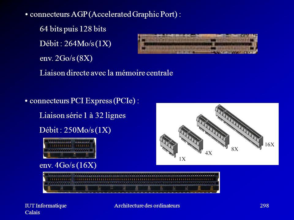 IUT Informatique Calais Architecture des ordinateurs298 connecteurs AGP (Accelerated Graphic Port) : 64 bits puis 128 bits Débit : 264Mo/s (1X) env. 2