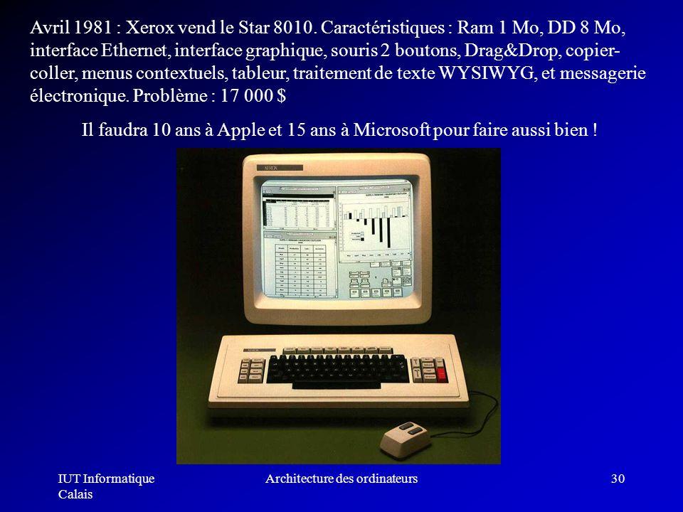 IUT Informatique Calais Architecture des ordinateurs30 Avril 1981 : Xerox vend le Star 8010. Caractéristiques : Ram 1 Mo, DD 8 Mo, interface Ethernet,