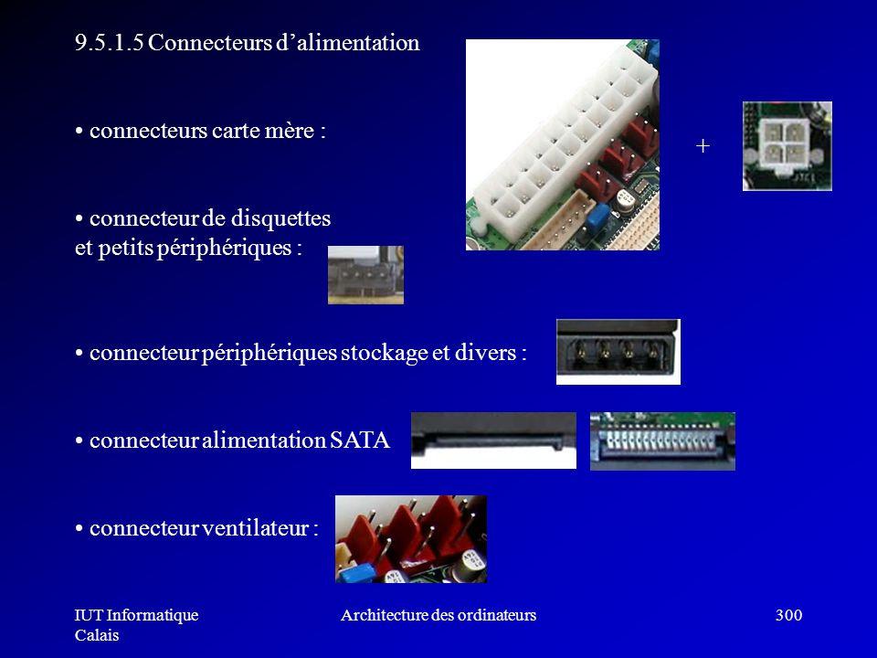 IUT Informatique Calais Architecture des ordinateurs300 9.5.1.5 Connecteurs dalimentation connecteurs carte mère : connecteur de disquettes et petits