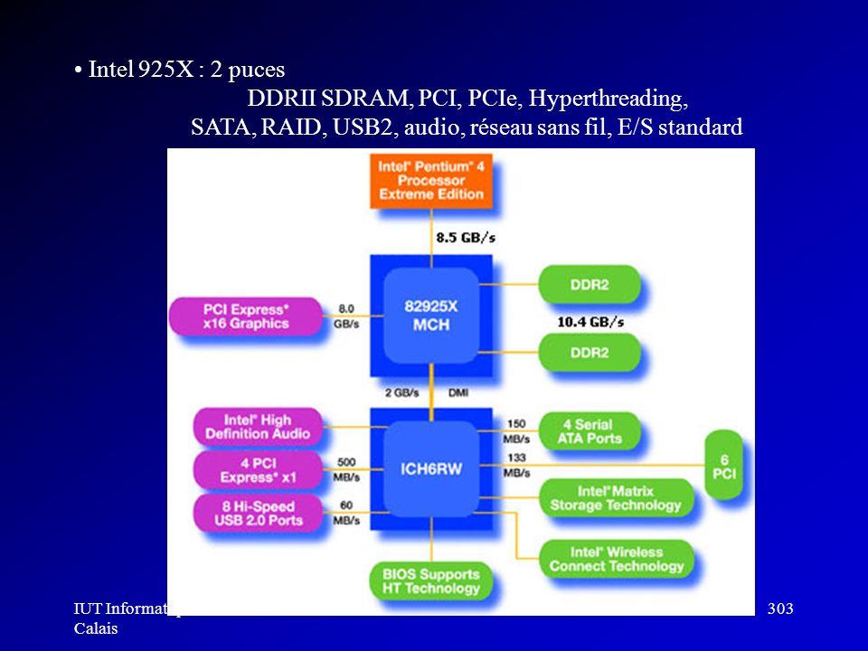 IUT Informatique Calais Architecture des ordinateurs303 Intel 925X : 2 puces DDRII SDRAM, PCI, PCIe, Hyperthreading, SATA, RAID, USB2, audio, réseau s
