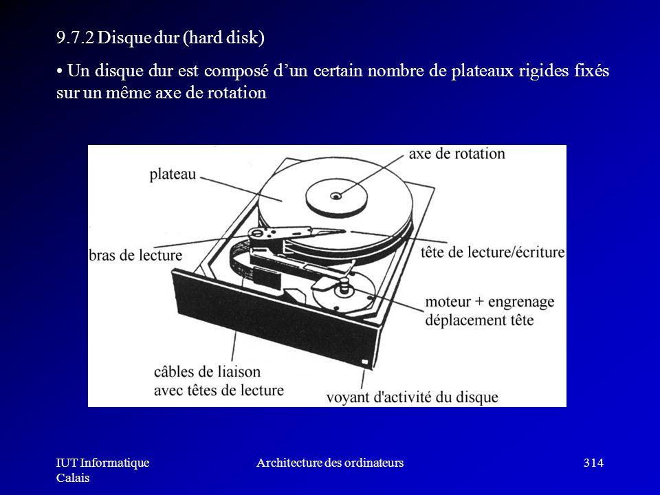 IUT Informatique Calais Architecture des ordinateurs314 9.7.2 Disque dur (hard disk) Un disque dur est composé dun certain nombre de plateaux rigides
