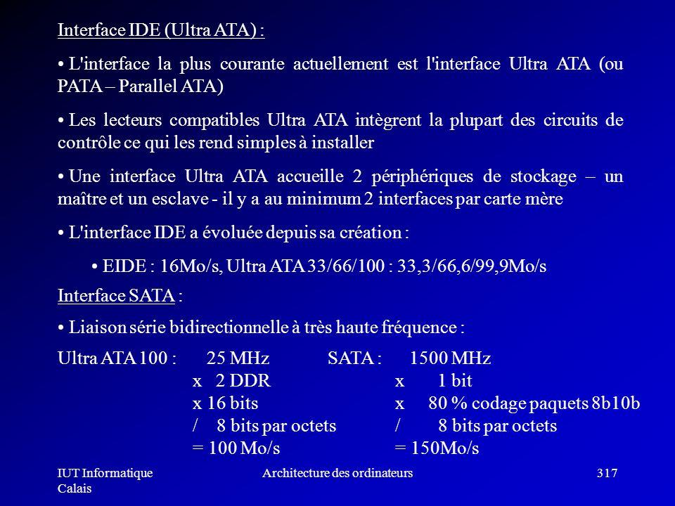 IUT Informatique Calais Architecture des ordinateurs317 Interface IDE (Ultra ATA) : L'interface la plus courante actuellement est l'interface Ultra AT