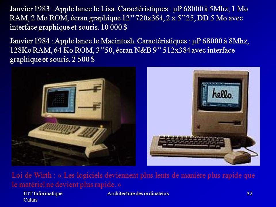 IUT Informatique Calais Architecture des ordinateurs32 Janvier 1983 : Apple lance le Lisa. Caractéristiques : µP 68000 à 5Mhz, 1 Mo RAM, 2 Mo ROM, écr
