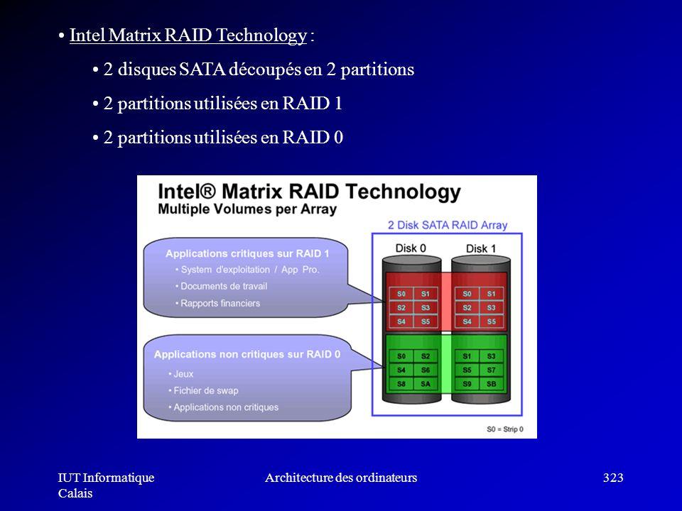 IUT Informatique Calais Architecture des ordinateurs323 Intel Matrix RAID Technology : 2 disques SATA découpés en 2 partitions 2 partitions utilisées