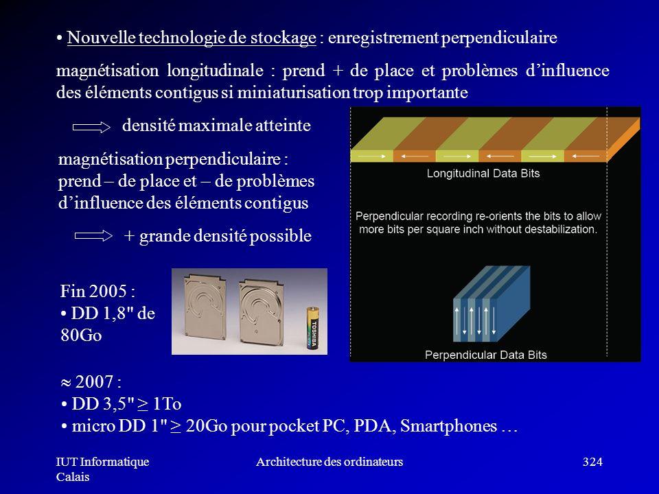 IUT Informatique Calais Architecture des ordinateurs324 Nouvelle technologie de stockage : enregistrement perpendiculaire magnétisation longitudinale