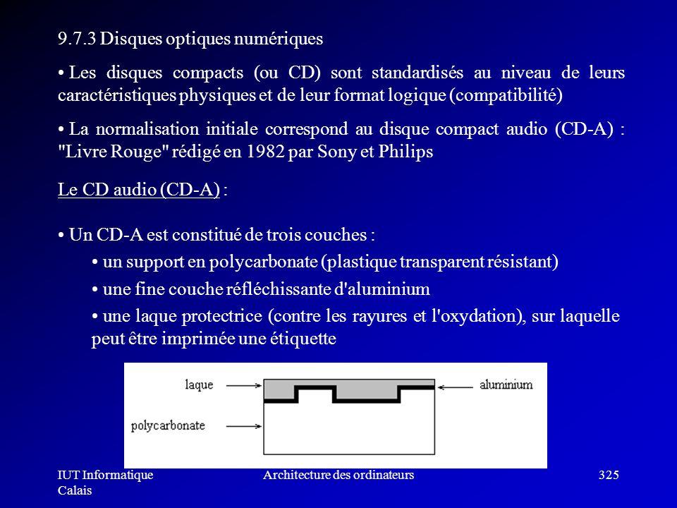 IUT Informatique Calais Architecture des ordinateurs325 9.7.3 Disques optiques numériques Les disques compacts (ou CD) sont standardisés au niveau de