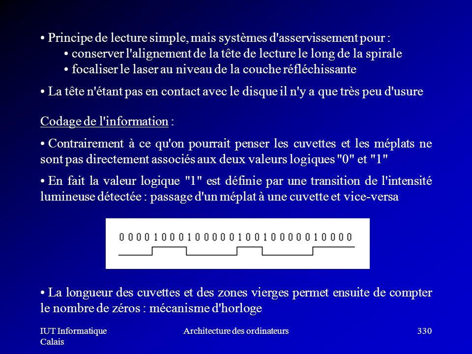 IUT Informatique Calais Architecture des ordinateurs330 Codage de l'information : Contrairement à ce qu'on pourrait penser les cuvettes et les méplats