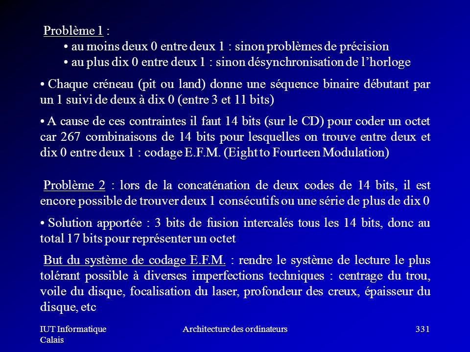 IUT Informatique Calais Architecture des ordinateurs331 Problème 1 : au moins deux 0 entre deux 1 : sinon problèmes de précision au plus dix 0 entre d