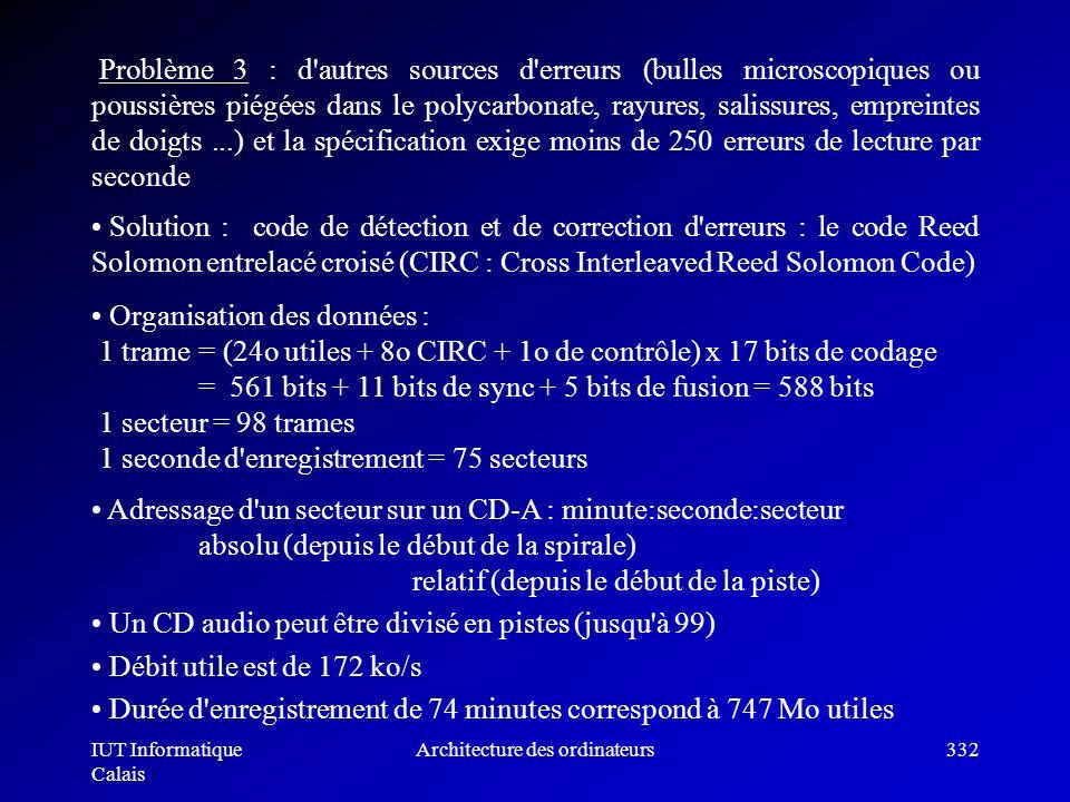 IUT Informatique Calais Architecture des ordinateurs332 Problème 3 : d'autres sources d'erreurs (bulles microscopiques ou poussières piégées dans le p