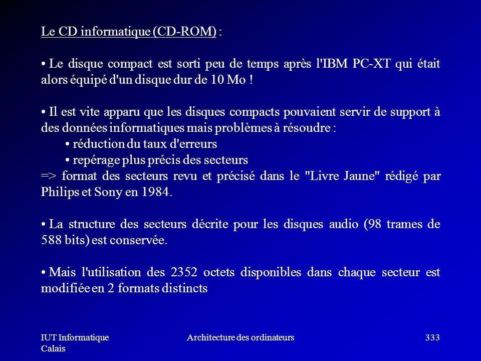 IUT Informatique Calais Architecture des ordinateurs333 Le CD informatique (CD-ROM) : Le disque compact est sorti peu de temps après l'IBM PC-XT qui é