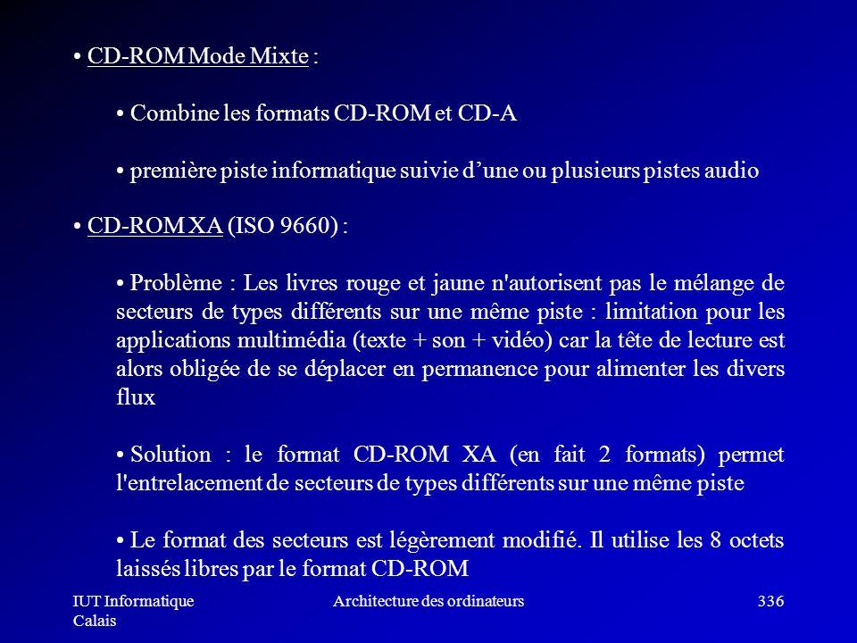 IUT Informatique Calais Architecture des ordinateurs336 CD-ROM Mode Mixte : Combine les formats CD-ROM et CD-A première piste informatique suivie dune