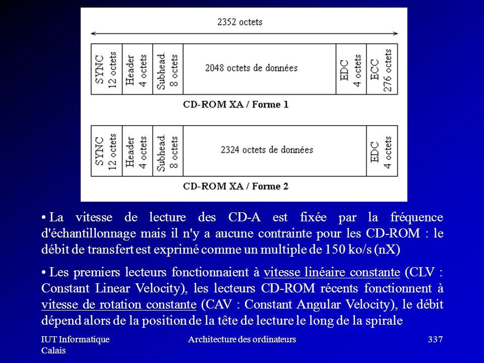 IUT Informatique Calais Architecture des ordinateurs337 La vitesse de lecture des CD-A est fixée par la fréquence d'échantillonnage mais il n'y a aucu