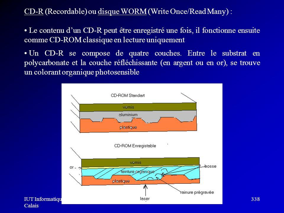 IUT Informatique Calais Architecture des ordinateurs338 CD-R (Recordable) ou disque WORM (Write Once/Read Many) : Le contenu dun CD-R peut être enregi