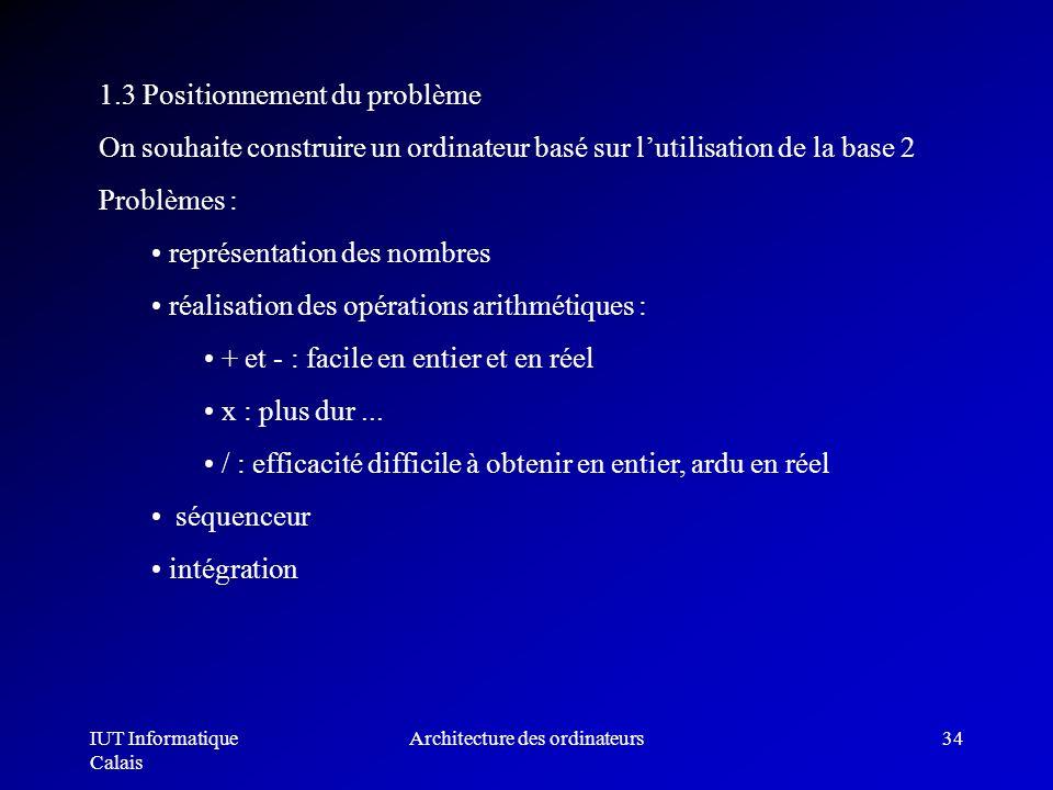 IUT Informatique Calais Architecture des ordinateurs34 1.3 Positionnement du problème On souhaite construire un ordinateur basé sur lutilisation de la