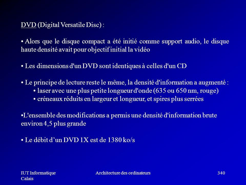IUT Informatique Calais Architecture des ordinateurs340 DVD (Digital Versatile Disc) : Alors que le disque compact a été initié comme support audio, l