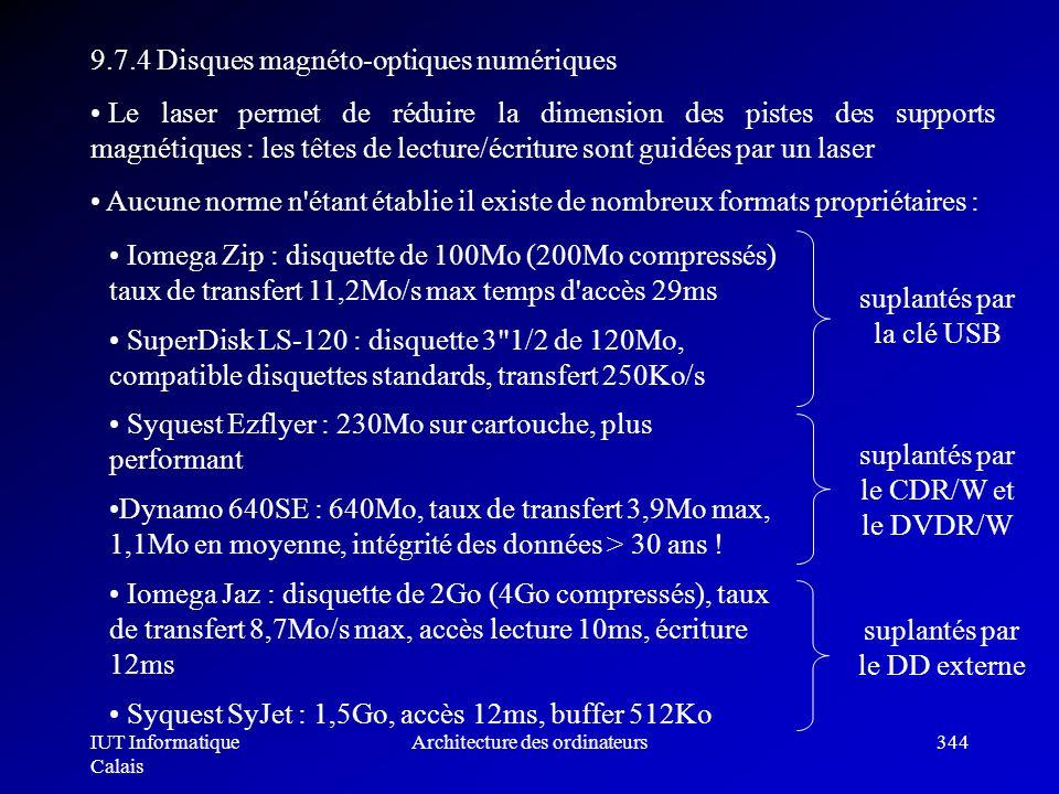 IUT Informatique Calais Architecture des ordinateurs344 9.7.4 Disques magnéto-optiques numériques Le laser permet de réduire la dimension des pistes d